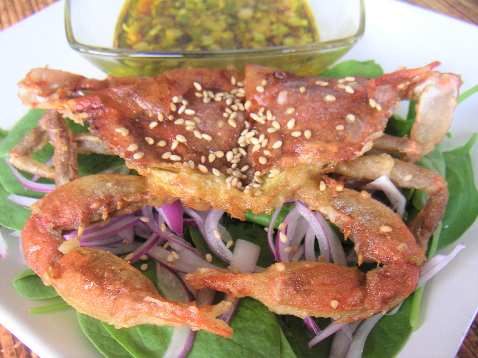 【レシピ紹介】8月の食材ソフトシェルクラブ(Softshell crab)の柚子ポン酢サラダ